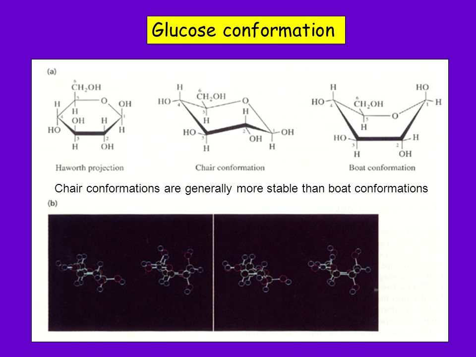 Glucose conformation Chair conformations are generally more stable than boat conformations