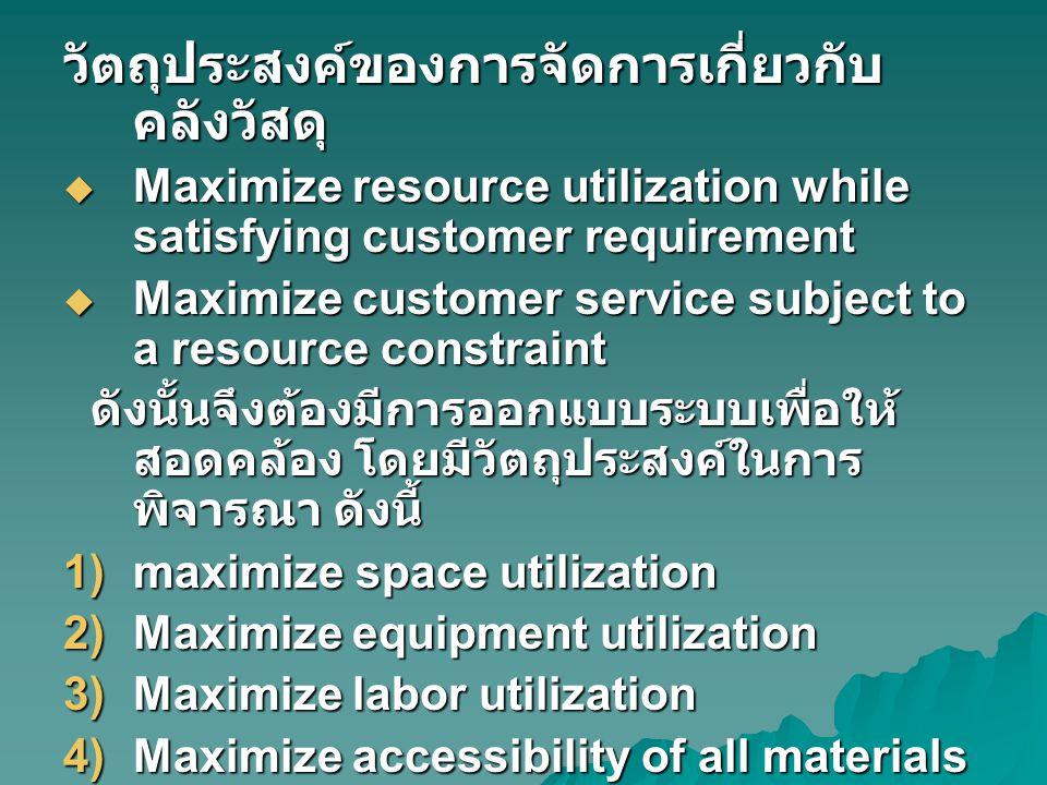 วัตถุประสงค์ของการจัดการเกี่ยวกับ คลังวัสดุ  Maximize resource utilization while satisfying customer requirement  Maximize customer service subject