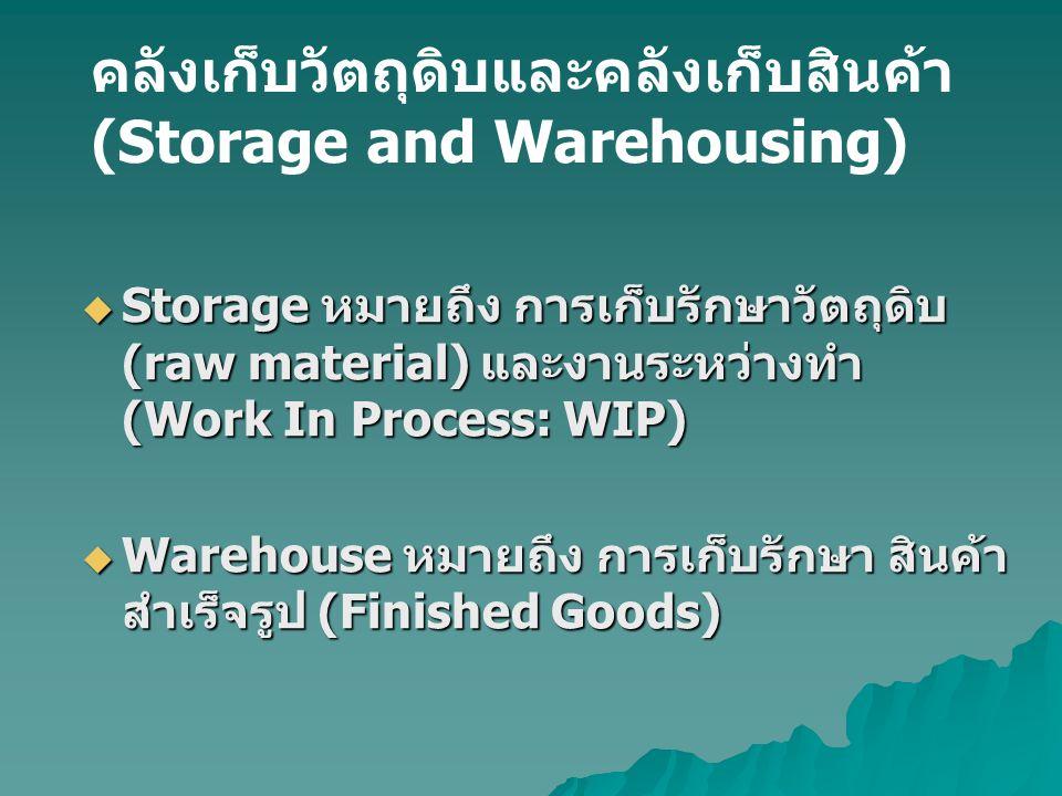 คลังเก็บวัตถุดิบและคลังเก็บสินค้า (Storage and Warehousing)  Storage หมายถึง การเก็บรักษาวัตถุดิบ (raw material) และงานระหว่างทำ (Work In Process: WI