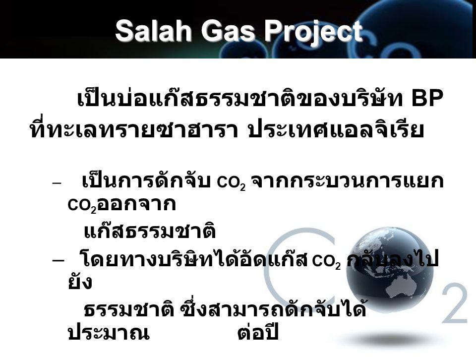 Salah Gas Project เป็นบ่อแก๊สธรรมชาติของบริษัท BP ที่ทะเลทรายซาฮารา ประเทศแอลจิเรีย – เป็นการดักจับ CO 2 จากกระบวนการแยก CO 2 ออกจาก แก๊สธรรมชาติ – โด