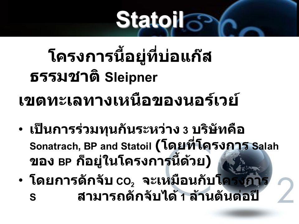 Statoil โครงการนี้อยู่ที่บ่อแก๊ส ธรรมชาติ Sleipner เขตทะเลทางเหนือของนอร์เวย์ เป็นการร่วมทุนกันระหว่าง 3 บริษัทคือ Sonatrach, BP and Statoil ( โดยที่โ