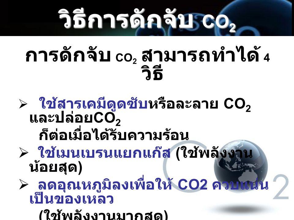 วิธีการดักจับ CO 2 การดักจับ CO 2 สามารถทำได้ 4 วิธี  ใช้สารเคมีดูดซับหรือละลาย CO 2 และปล่อย CO 2 ก็ต่อเมื่อได้รับความร้อน  ใช้เมนเบรนแยกแก๊ส ( ใช้