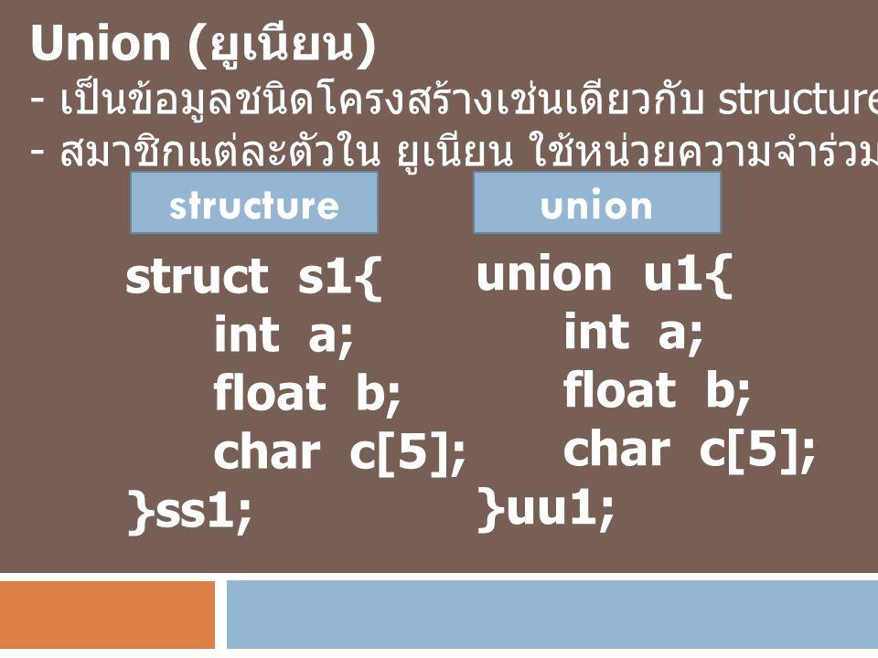 Union ( ยูเนียน ) - เป็นข้อมูลชนิดโครงสร้างเช่นเดียวกับ structure - สมาชิกแต่ละตัวใน ยูเนียน ใช้หน่วยความจำร่วมกัน structureunion struct s1{ int a; fl