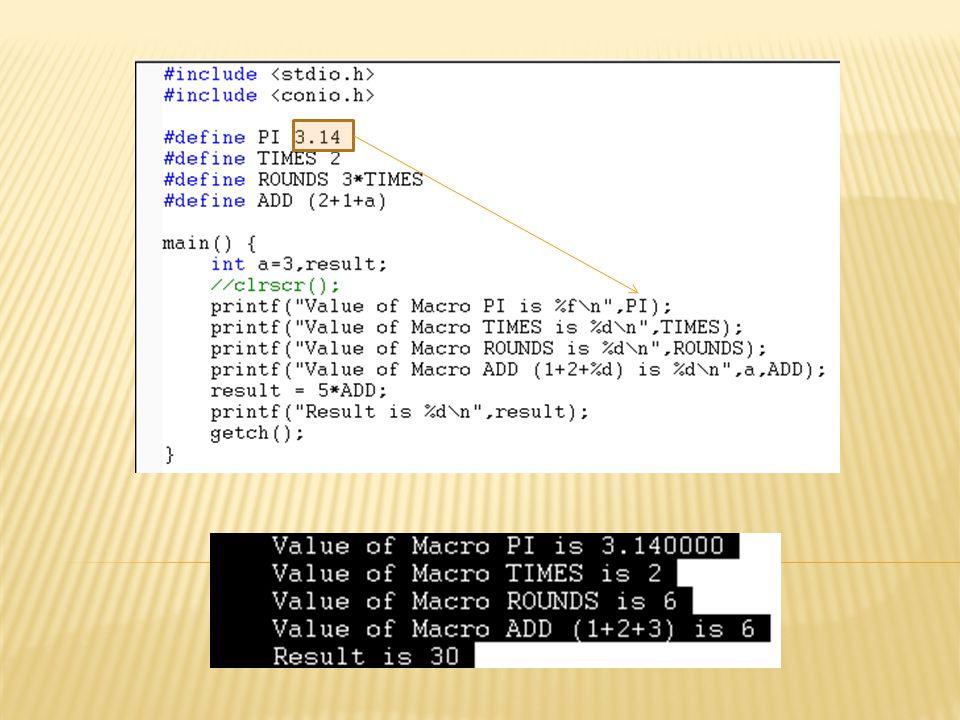 Macro ที่สามารถรับพารามิเตอร์ได้ รูปแบบ #define ชื่อ Macro( อาร์กิวเมนต์ ) ฟังก์ชันของอาร์กิวเมนต์ ตัวอย่าง Macro ที่สามารถรับค่าพารามิเตอร์ได้ #define SQUARE(A) (A*A)// สร้างฟังก์ชัน A ยกกำลังสอง #define ADD(B) (B+B)// สร้างฟังก์ชัน B+B