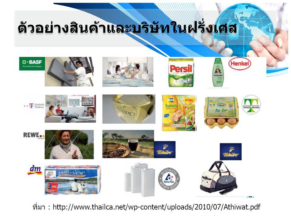 ตัวอย่างสินค้าและบริษัทในฝรั่งเศส ที่มา : http://www.thailca.net/wp-content/uploads/2010/07/Athiwat.pdf