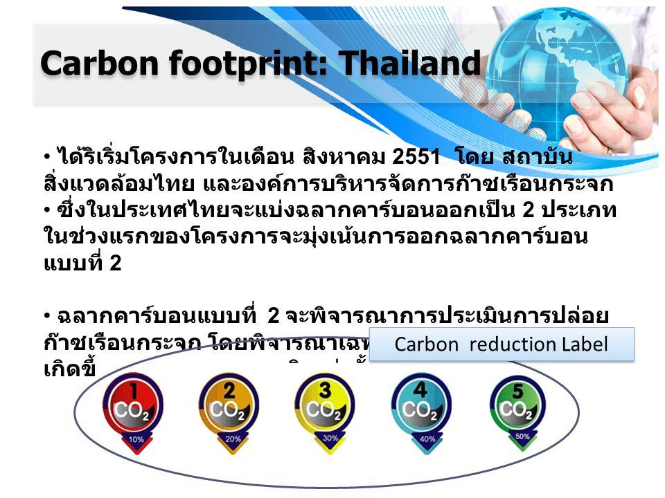 Carbon footprint: Thailand ได้ริเริ่มโครงการในเดือน สิงหาคม 2551 โดย สถาบัน สิ่งแวดล้อมไทย และองค์การบริหารจัดการก๊าซเรือนกระจก ซึ่งในประเทศไทยจะแบ่งฉ