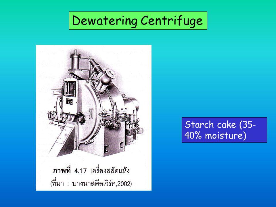 Dewatering Centrifuge Starch cake (35- 40% moisture)