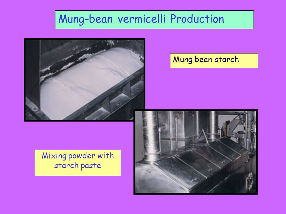 Mung-bean vermicelli Production Mixing powder with starch paste Mung bean starch