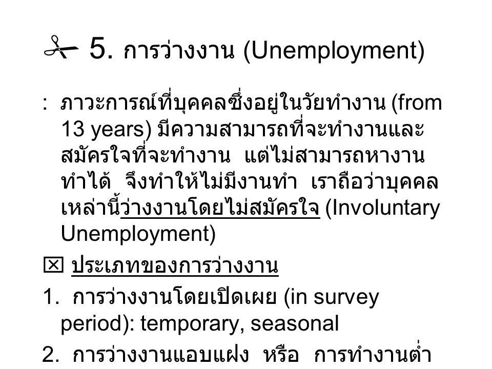  5. การว่างงาน (Unemployment) : ภาวะการณ์ที่บุคคลซึ่งอยู่ในวัยทำงาน (from 13 years) มีความสามารถที่จะทำงานและ สมัครใจที่จะทำงาน แต่ไม่สามารถหางาน ทำไ