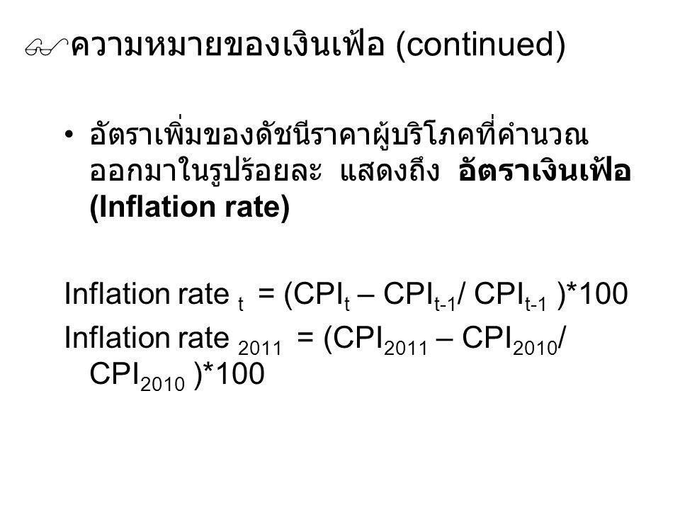  ความหมายของเงินเฟ้อ (continued) อัตราเพิ่มของดัชนีราคาผู้บริโภคที่คำนวณ ออกมาในรูปร้อยละ แสดงถึง อัตราเงินเฟ้อ (Inflation rate) Inflation rate t = (