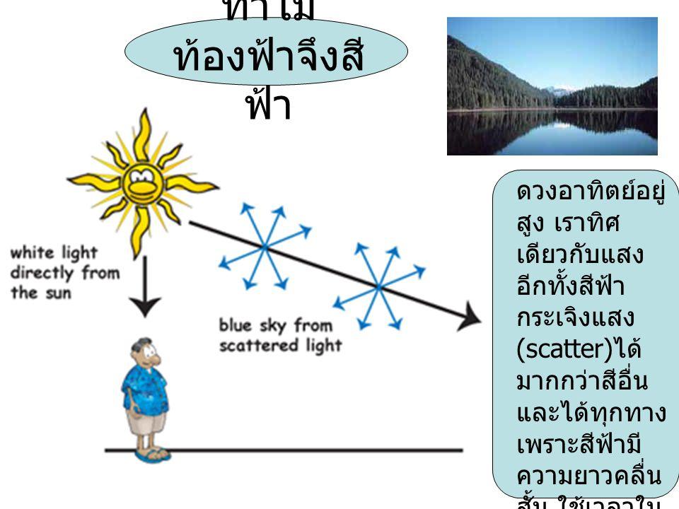 ทำไม ท้องฟ้าจึงสี ฟ้า ดวงอาทิตย์อยู่ สูง เราทิศ เดียวกับแสง อีกทั้งสีฟ้า กระเจิงแสง (scatter) ได้ มากกว่าสีอื่น และได้ทุกทาง เพราะสีฟ้ามี ความยาวคลื่น