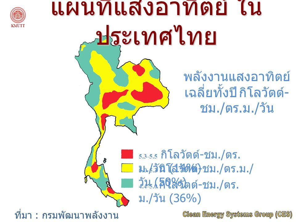 5.3-5.5 กิโลวัตต์ - ชม./ ตร. ม./ วัน (14%) 5.0-5.3 กิโลวัตต์ - ชม./ ตร. ม./ วัน (50%) 4.4-5.0 กิโลวัตต์ - ชม./ ตร. ม./ วัน (36%) พลังงานแสงอาทิตย์ เฉล