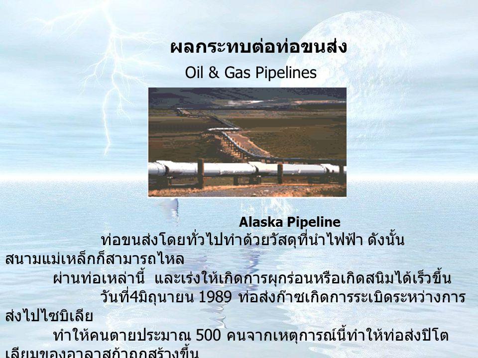 ผลกระทบต่อท่อขนส่ง Alaska Pipeline ท่อขนส่งโดยทั่วไปทำด้วยวัสดุที่นำไฟฟ้า ดังนั้น สนามแม่เหล็กก็สามารถไหล ผ่านท่อเหล่านี้ และเร่งให้เกิดการผุกร่อนหรือเกิดสนิมได้เร็วขึ้น วันที่ 4 มิถุนายน 1989 ท่อส่งก๊าซเกิดการระเบิดระหว่างการ ส่งไปไซบิเลีย ทำให้คนตายประมาณ 500 คนจากเหตุการณ์นี้ทำให้ท่อส่งปิโต เลียมของอาลาสก้าถูกสร้างขึ้น โดยใช้เทคโนโลยีที่ทำให้เกิดการเหนี่ยวนำกระแสน้อยที่สุดเรียกว่า modern pipeline engineers Oil & Gas Pipelines