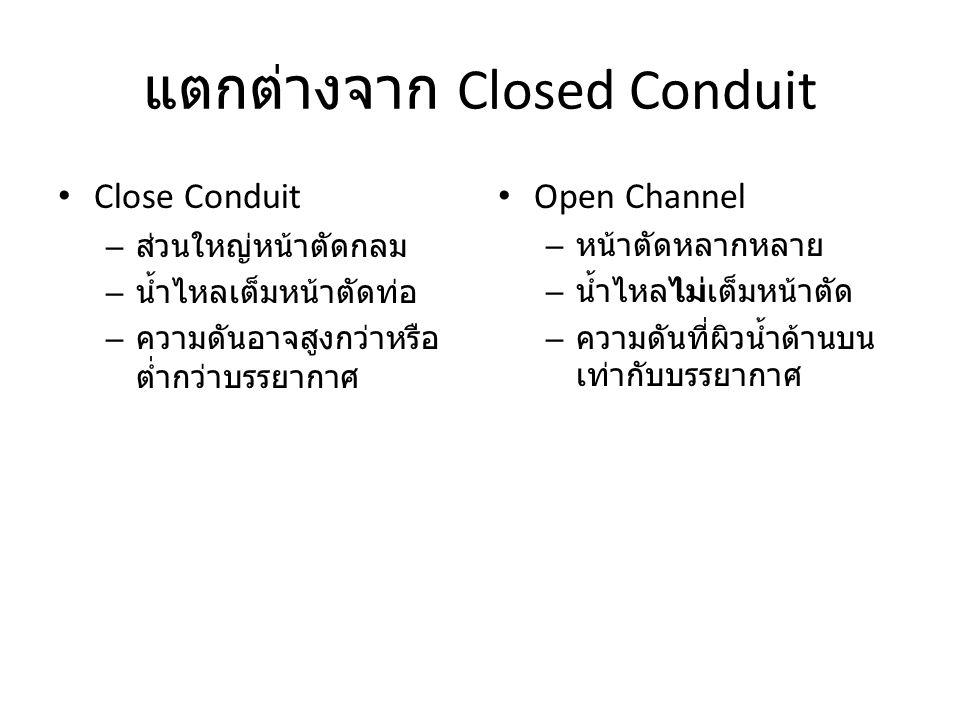 แตกต่างจาก Closed Conduit Close Conduit – ส่วนใหญ่หน้าตัดกลม – น้ำไหลเต็มหน้าตัดท่อ – ความดันอาจสูงกว่าหรือ ต่ำกว่าบรรยากาศ Open Channel – หน้าตัดหลาก