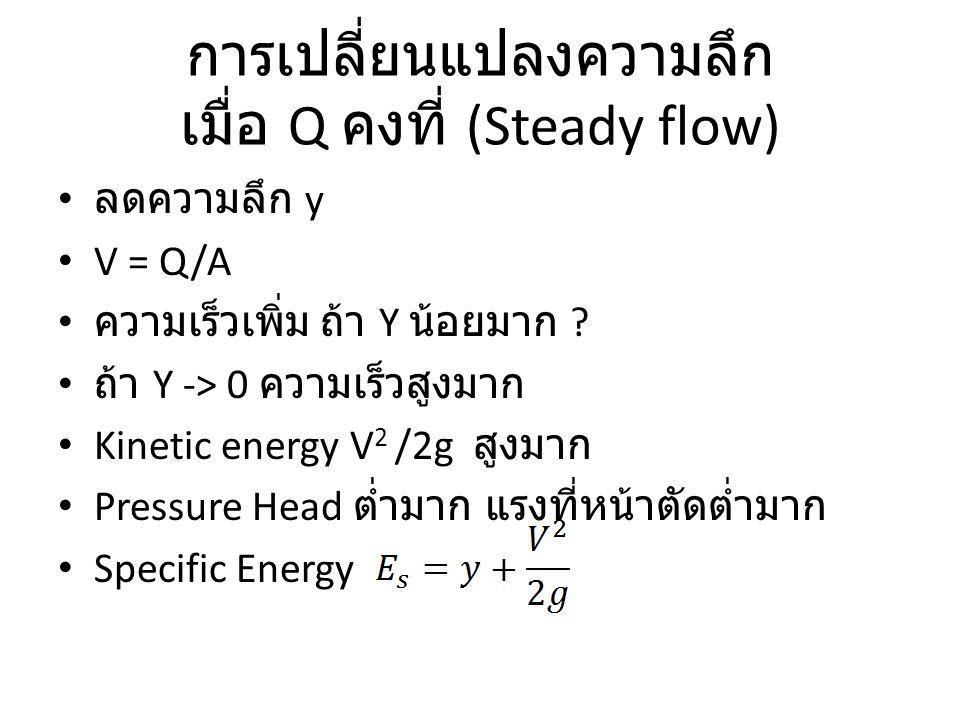 การเปลี่ยนแปลงความลึก เมื่อ Q คงที่ (Steady flow) ลดความลึก y V = Q/A ความเร็วเพิ่ม ถ้า Y น้อยมาก ? ถ้า Y -> 0 ความเร็วสูงมาก Kinetic energy V 2 /2g ส
