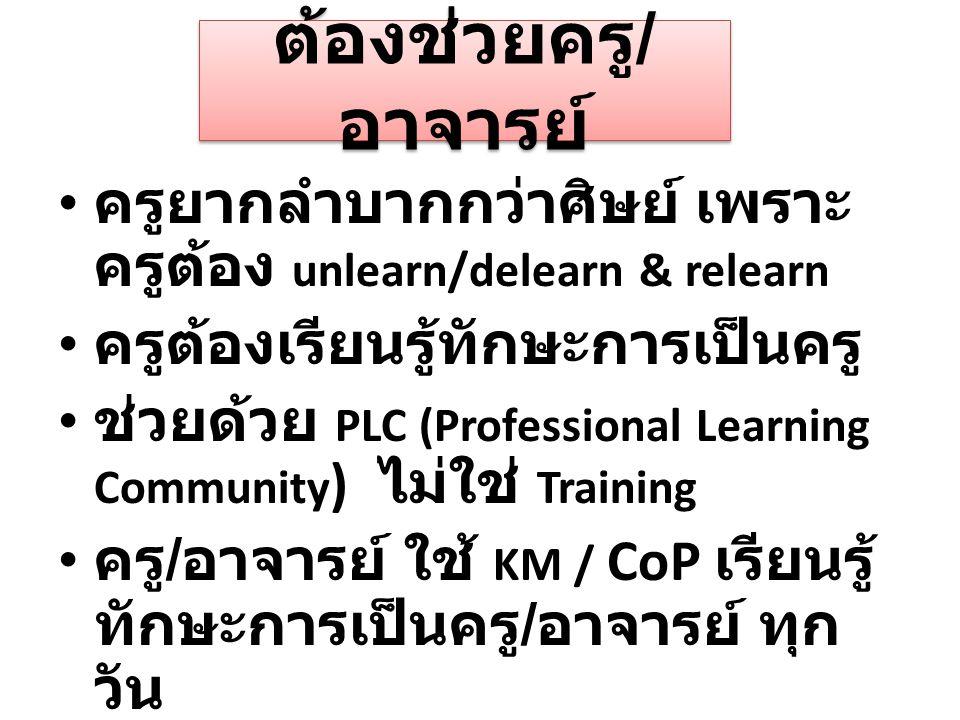 ต้องช่วยครู / อาจารย์ ครูยากลำบากกว่าศิษย์ เพราะ ครูต้อง unlearn/delearn & relearn ครูต้องเรียนรู้ทักษะการเป็นครู ช่วยด้วย PLC (Professional Learning