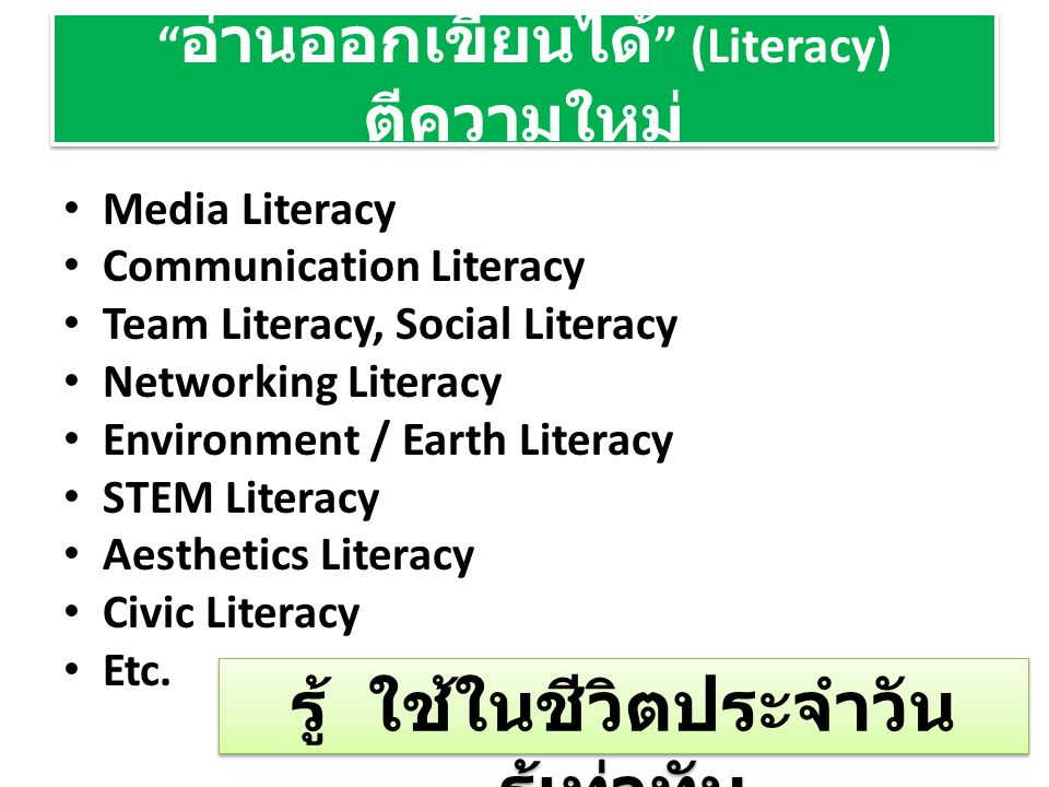 อ่านออกเขียนได้ (Literacy) ตีความใหม่ Media Literacy Communication Literacy Team Literacy, Social Literacy Networking Literacy Environment / Earth Literacy STEM Literacy Aesthetics Literacy Civic Literacy Etc.