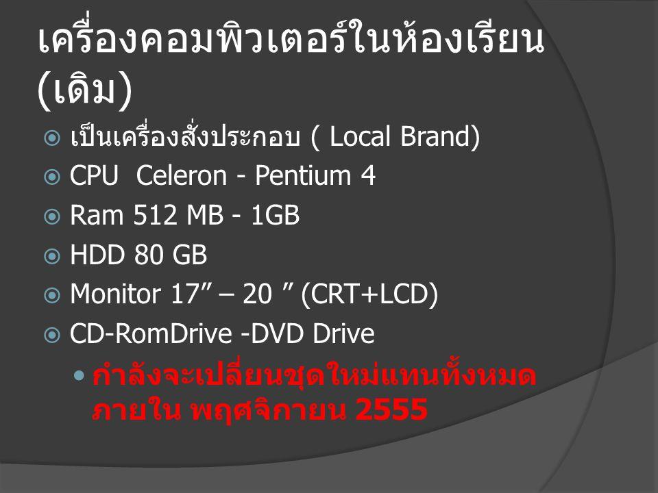 เครื่องคอมพิวเตอร์ในห้องเรียน ( ใหม่ )  เป็นเครื่องเช่าใช้ระยะเวลา 3 ปี (Brand Name)  CPU Core i5 3.4 GHz  Ram 4 GB  HDD 500 GB  Monitor 19 LCD  DVD-RW Drive  SD/MMC Card Reader