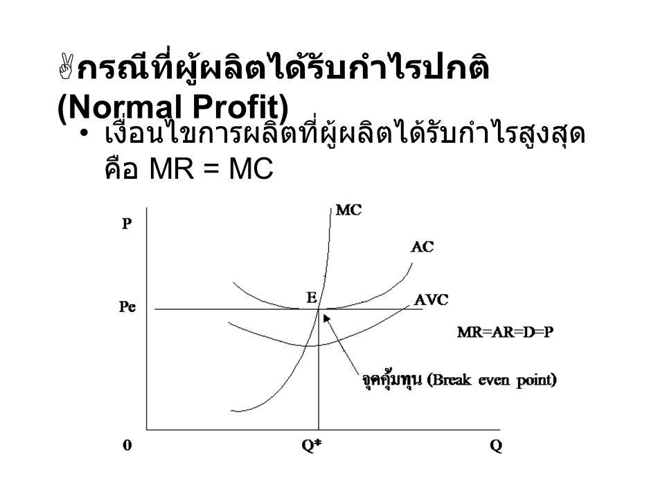  กรณีที่ผู้ผลิตได้รับกำไรปกติ (Normal Profit) เงื่อนไขการผลิตที่ผู้ผลิตได้รับกำไรสูงสุด คือ MR = MC
