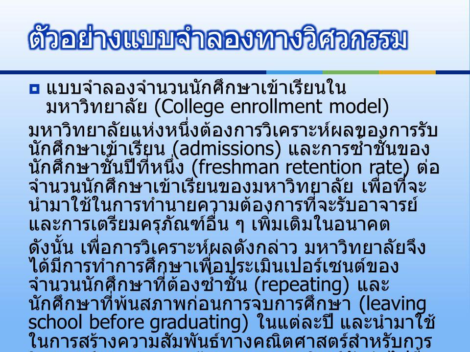  แบบจำลองจำนวนนักศึกษาเข้าเรียนใน มหาวิทยาลัย (College enrollment model) มหาวิทยาลัยแห่งหนึ่งต้องการวิเคราะห์ผลของการรับ นักศึกษาเข้าเรียน (admission