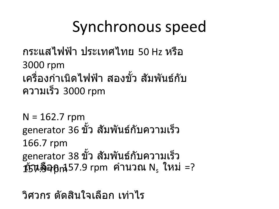 Synchronous speed กระแสไฟฟ้า ประเทศไทย 50 Hz หรือ 3000 rpm เครื่องกำเนิดไฟฟ้า สองขั้ว สัมพันธ์กับ ความเร็ว 3000 rpm N = 162.7 rpm generator 36 ขั้ว สัมพันธ์กับความเร็ว 166.7 rpm generator 38 ขั้ว สัมพันธ์กับความเร็ว 157.9 rpm วิศวกร ตัดสินใจเลือก เท่าไร ถ้าเลือก 157.9 rpm คำนวณ N s ใหม่ =?