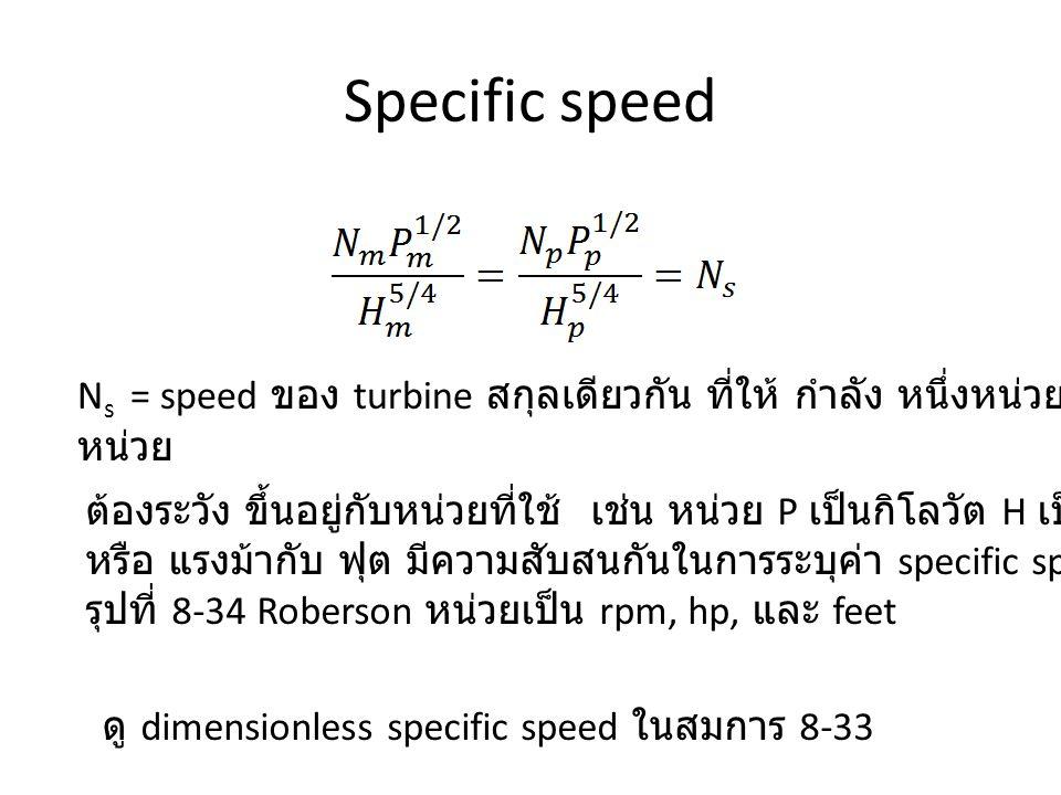 Specific speed N s = speed ของ turbine สกุลเดียวกัน ที่ให้ กำลัง หนึ่งหน่วย จาก head หน่วย ต้องระวัง ขึ้นอยู่กับหน่วยที่ใช้ เช่น หน่วย P เป็นกิโลวัต H เป็นเมตร หรือ แรงม้ากับ ฟุต มีความสับสนกันในการระบุค่า specific speed รุปที่ 8-34 Roberson หน่วยเป็น rpm, hp, และ feet ดู dimensionless specific speed ในสมการ 8-33