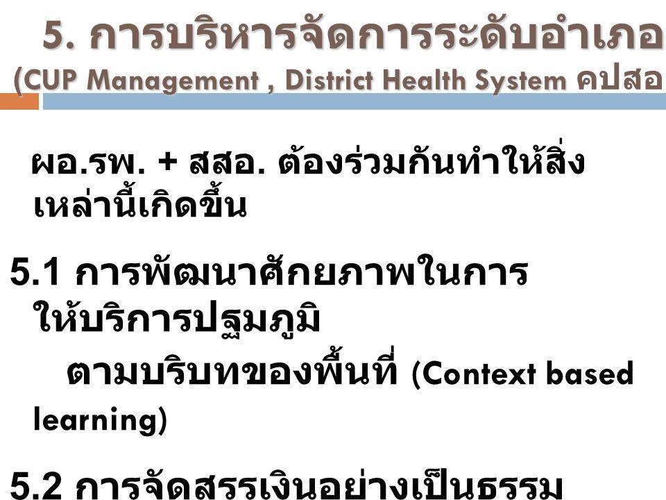 5.3 การจัดทำแผนสุขภาพตำบล และ อำเภอ 5.4 Referral System และระบบการ ปรึกษา 5.5 การสนับสนุนชุมชน ให้เกิดการ แลกเปลี่ยนเรียนรู้ และการผลิตนวตกรรมสุขภาพ ชุมชน 5.