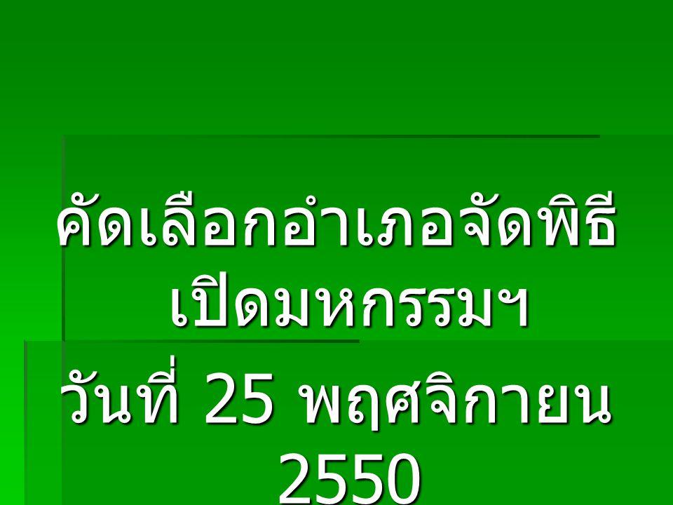 คัดเลือกอำเภอจัดพิธี เปิดมหกรรมฯ วันที่ 25 พฤศจิกายน 2550