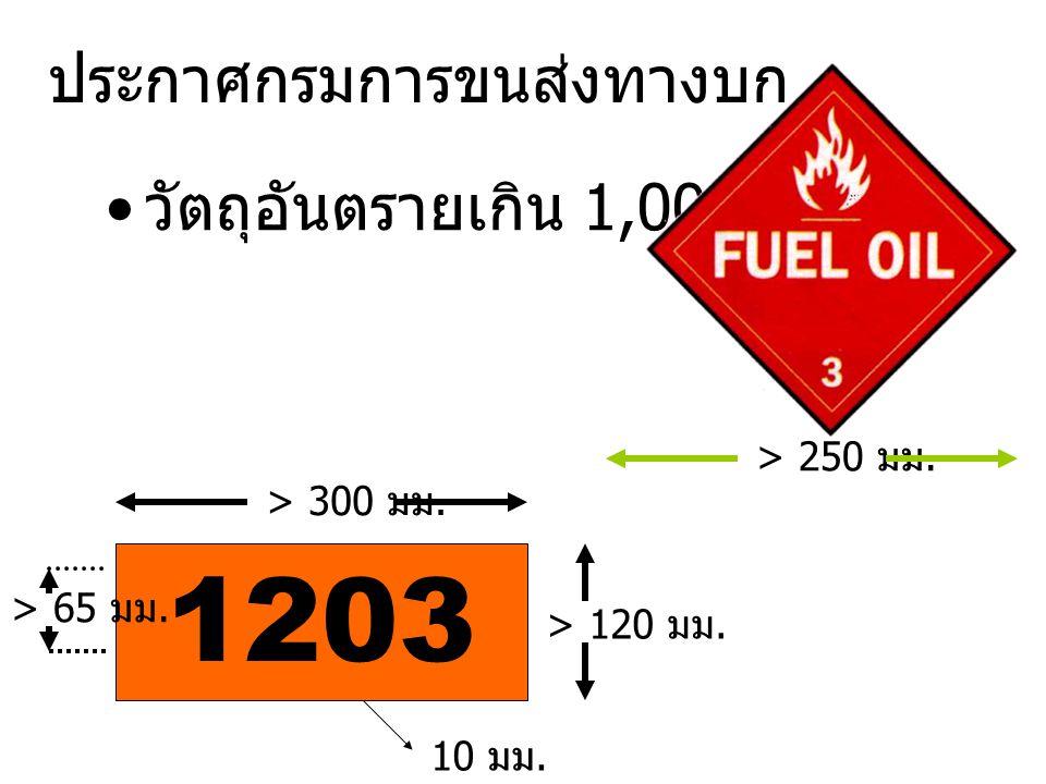 33 1088 20 ก๊าซทำให้หมดสติได้ ไม่มีอันตราย เสี่ยงรอง 22 ก๊าซทำให้หมดสติได้ เป็นของเหลว ที่อุณหภูมิต่ำ 223 ก๊าซเป็นของเหลวที่อุณหภูมิต่ำและ ไวไฟ 225 ก๊าซเป็นของเหลวที่อุณหภูมิต่ำและ ออกซิไดซ์ 23 ก๊าซไวไฟ 25 ก๊าซเป็นตัวออกซิไดซ์ 26 ก๊าซพิษ 263 ก๊าซพิษไวไฟ 30 ของเหลวไวไฟ ไม่มีอันตรายเสี่ยง รอง 323 ของเหลวไวไฟทำกับน้ำแล้วได้ ไวไฟ X32 3 ของเหลวไวไฟทำกับน้ำแล้วได้ ไวไฟห้ามใช้น้ำดับ 33 ของเหลวไวไฟสูง X33 3 ของเหลวไวไฟสูง มีพิษ ทำปฏิกิริยา กับน้ำ X42 3 ของแข็งทำปฏิกิริยากับน้ำได้ก๊าซ ไวไฟ ห้ามใช้น้ำดับ X83 วัตถุกัดกร่อน ไวไฟ ทำปฏิกิริยา อันตรายกับน้ำ 89 วัตถุกัดกร่อน มีปฏิกิริยารุนแรง ต่อเนื่อง 90 วัตถุอันตรายต่อสภาวะแวดล้อม 99 วัตถุอันตรายเนื่องจากขนส่งอุณหภูมิ สูง 400 มม.