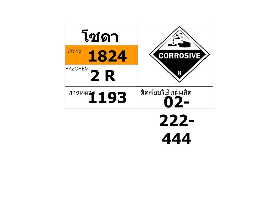 โซดา ไฟ 2 R HAZCHEM. ทางหลวง 1193 ติดต่อบริษัทผู้ผลิต 02- 222- 444 1824 UN No.