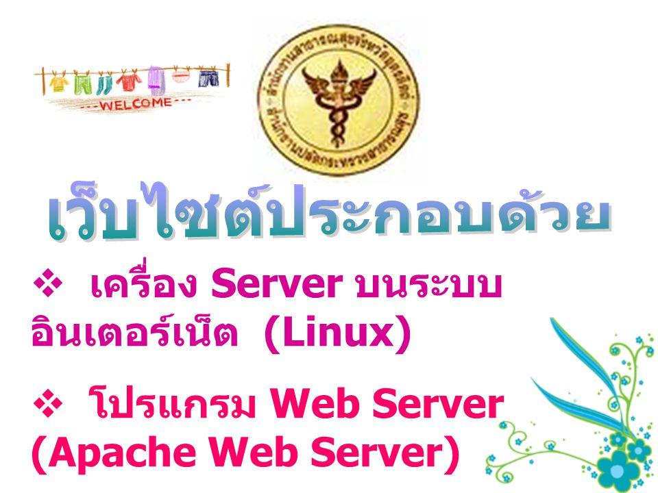  เครื่อง Server บนระบบ อินเตอร์เน็ต (Linux)  โปรแกรม Web Server (Apache Web Server)  โปรแกรม Up Load (LeapFtp)