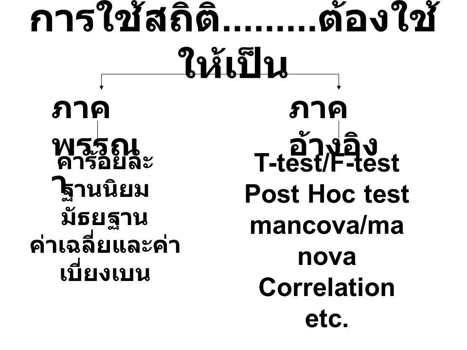 การใช้สถิติ......... ต้องใช้ ให้เป็น ภาค พรรณ า ภาค อ้างอิง ค่าร้อยละ ฐานนิยม มัธยฐาน ค่าเฉลี่ยและค่า เบี่ยงเบน T-test/F-test Post Hoc test mancova/ma