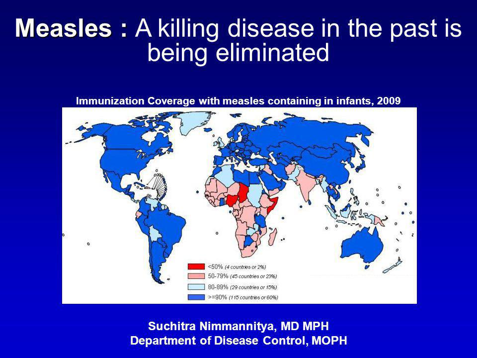Measles : Measles : A killing disease in the past is being eliminated Suchitra Nimmannitya, MD MPH Department of Disease Control, MOPH Immunization Co