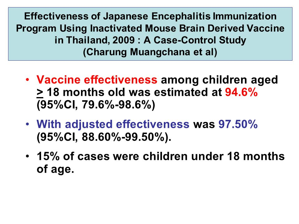Effectiveness of Japanese Encephalitis Immunization Program Using Inactivated Mouse Brain Derived Vaccine in Thailand, 2009 : A Case-Control Study (Ch