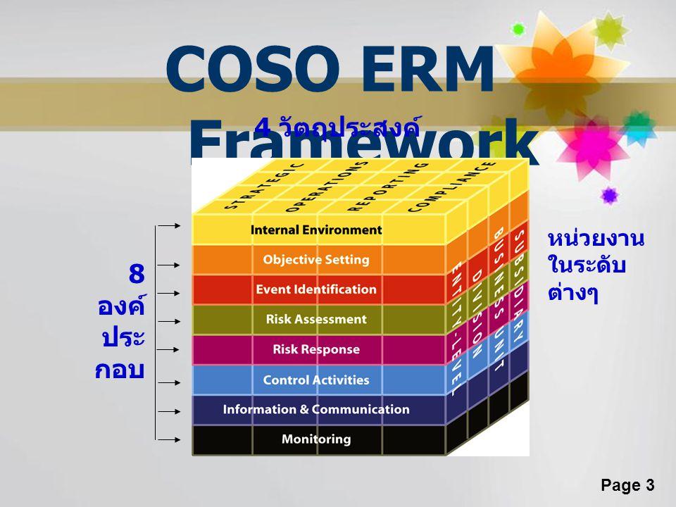 Page 3 COSO ERM Framework 8 องค์ ประ กอบ 4 วัตถุประสงค์ หน่วยงาน ในระดับ ต่างๆ