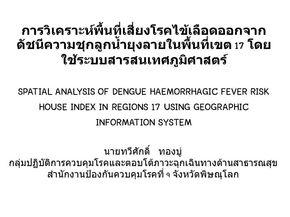 วิเคราะห์เชิงพื้นที่ (Spatial Analysis) Interpolation : (IDW) Overlay Analysis (HI) Overlay Analysis Risk area Village HI 51 HI 52 HI 53 แผนที่ (point) การแปลผล การสำรวจ