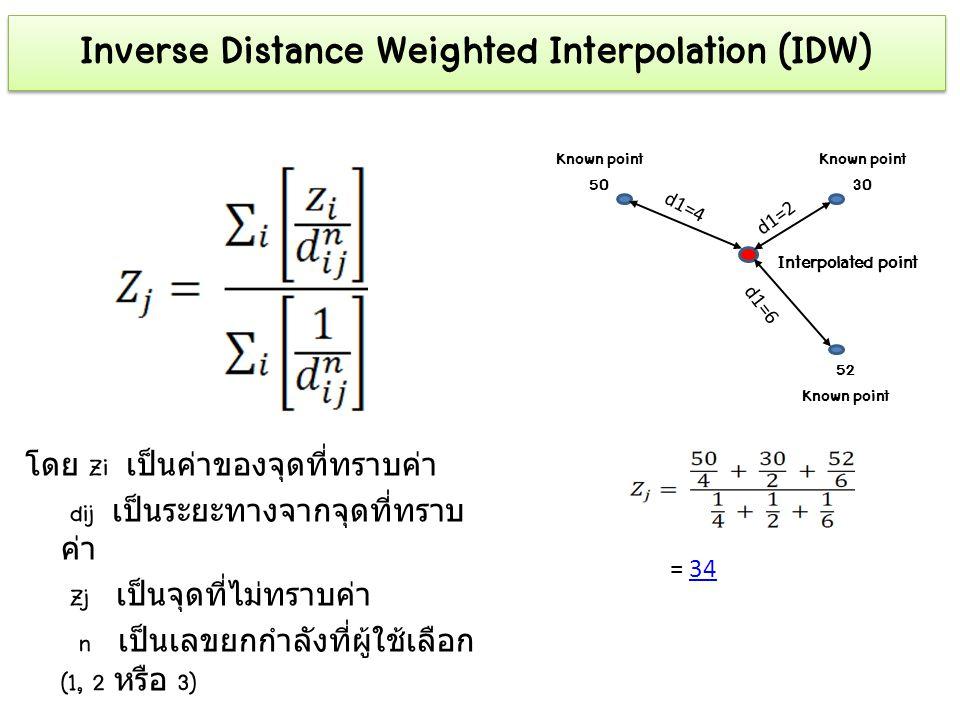 Inverse Distance Weighted Interpolation (IDW) โดย Zi เป็นค่าของจุดที่ทราบค่า dij เป็นระยะทางจากจุดที่ทราบ ค่า Zj เป็นจุดที่ไม่ทราบค่า n เป็นเลขยกกำลัง