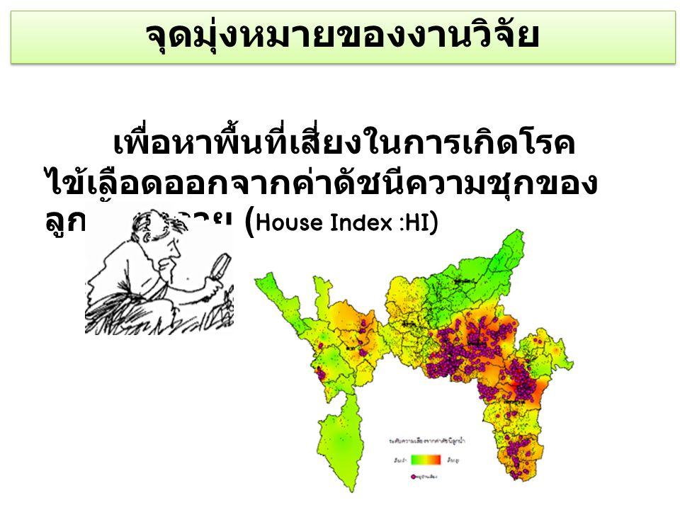 กรอบแนวคิด ดัชนีความ ชุกลูกน้ำ ยุงลาย (HI) ปี 2551-2553 พื้นที่เสี่ยง (หมู่บ้าน) โรค ไข้เลือดออ ก ปี 2554 GIS (Spatial Analysis) GIS (Spatial Analysis)