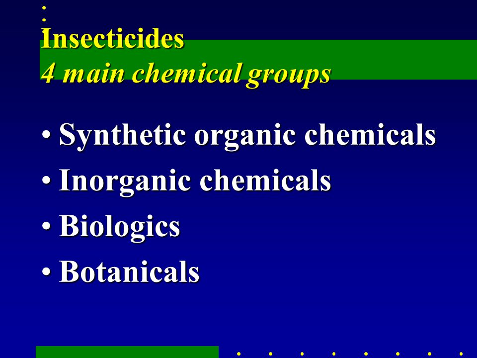Insecticides 4 main chemical groups Synthetic organic chemicalsSynthetic organic chemicals Inorganic chemicalsInorganic chemicals BiologicsBiologics BotanicalsBotanicals