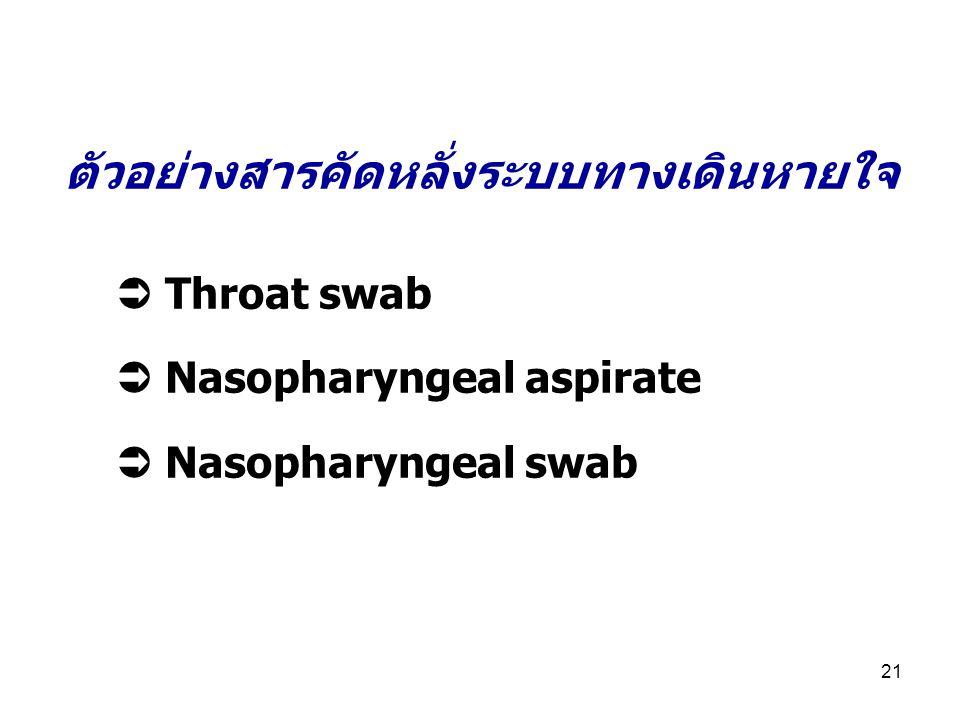 21 ตัวอย่างสารคัดหลั่งระบบทางเดินหายใจ  Throat swab  Nasopharyngeal aspirate  Nasopharyngeal swab