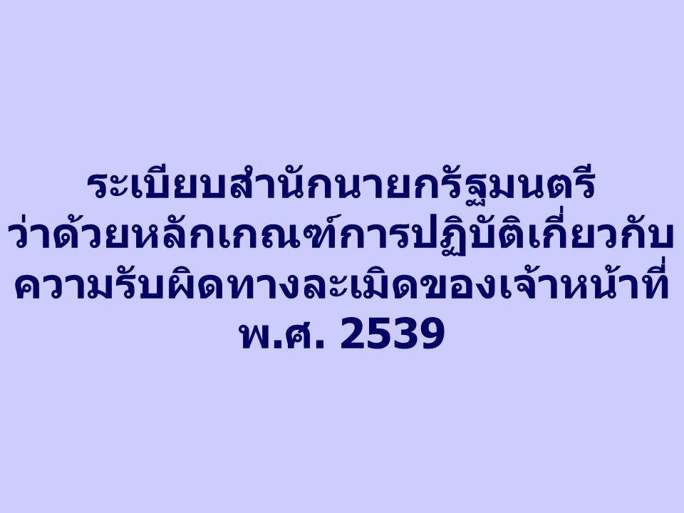 ระเบียบสำนักนายกรัฐมนตรี ว่าด้วยหลักเกณฑ์การปฏิบัติเกี่ยวกับ ความรับผิดทางละเมิดของเจ้าหน้าที่ พ.ศ. 2539