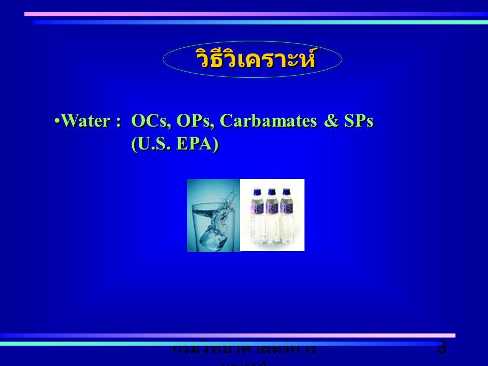 กรมวิทยาศาสตร์การ แพทย์ 9 Limit of Detection & Limit of Quantitation Water LOD (  g/L) LOQ (  g/L) OCs 0.003 0.01 OPs 0.03-0.1 0.1-0.5 Carbamates 0.1 0.5 SPs 0.01 0.02 Water LOD (  g/L) LOQ (  g/L) OCs 0.003 0.01 OPs 0.03-0.1 0.1-0.5 Carbamates 0.1 0.5 SPs 0.01 0.02