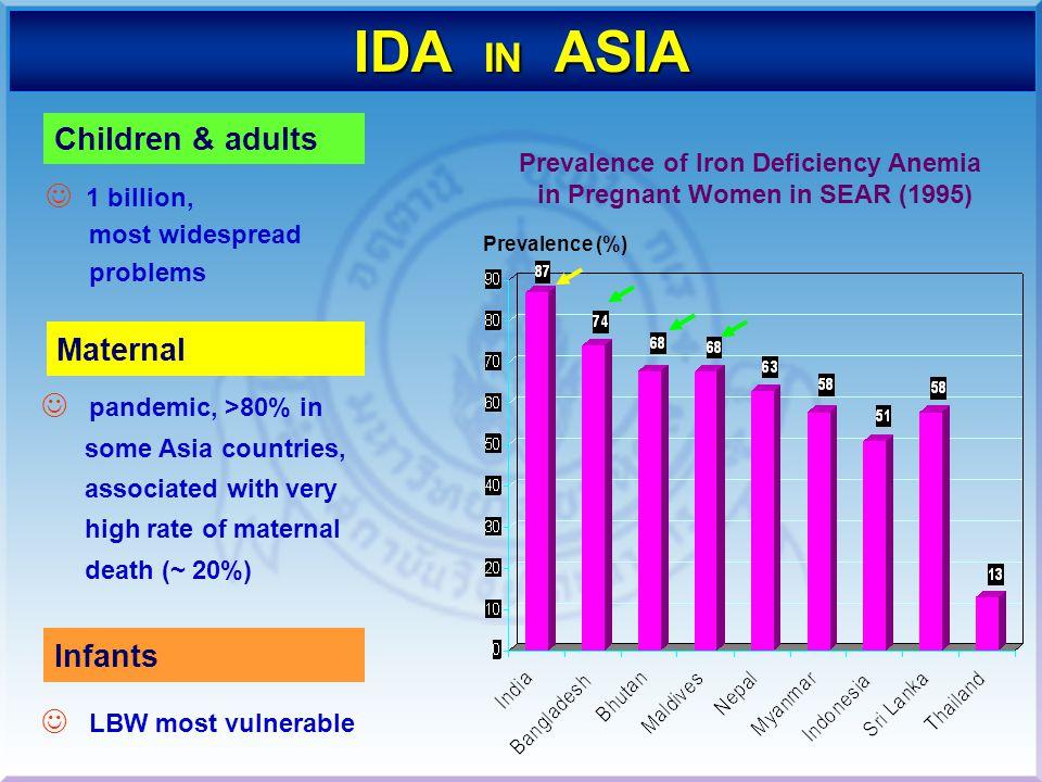 PREGNANT WOMEN Hb<11g% = 37% SCHOOL CHILDRENHb<12g% = 17.3% Source : Nutrition Division, MOPH PRESCHOOL CHILDREN (Boy) Hb<12g% = 27.3% (Girl) Hb<12g% = 22.9% INFANT (Khonkaen) Anemia = 40.0% (Ubonrachatani) Anemia = 73.0% Source :Pattani et.al ID/IDA IN THAILAND 1993 1994 1995 1996