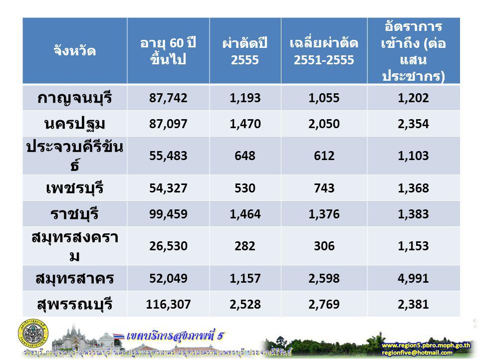 จังหวัด อายุ 60 ปี ขึ้นไป ผ่าตัดปี 2555 เฉลี่ยผ่าตัด 2551-2555 อัตราการ เข้าถึง ( ต่อ แสน ประชากร ) กาญจนบุรี 87,7421,1931,0551,202 นครปฐม 87,0971,4702,0502,354 ประจวบคีรีขัน ธ์ 55,4836486121,103 เพชรบุรี 54,3275307431,368 ราชบุรี 99,4591,4641,3761,383 สมุทรสงครา ม 26,5302823061,153 สมุทรสาคร 52,0491,1572,5984,991 สุพรรณบุรี 116,3072,5282,7692,381