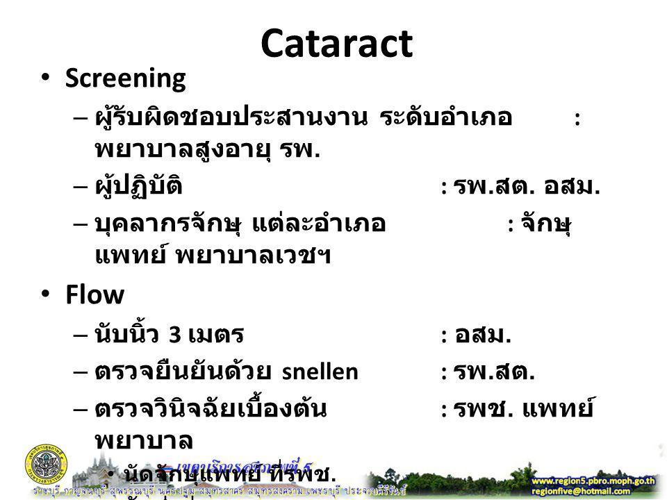 Cataract Screening – ผู้รับผิดชอบประสานงาน ระดับอำเภอ : พยาบาลสูงอายุ รพ.