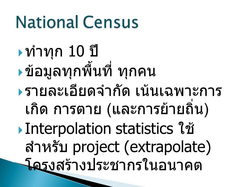  ทำทุก 10 ปี  ข้อมูลทุกพื้นที่ ทุกคน  รายละเอียดจำกัด เน้นเฉพาะการ เกิด การตาย ( และการย้ายถิ่น )  Interpolation statistics ใช้ สำหรับ project (extrapolate) โครงสร้างประชากรในอนาคต