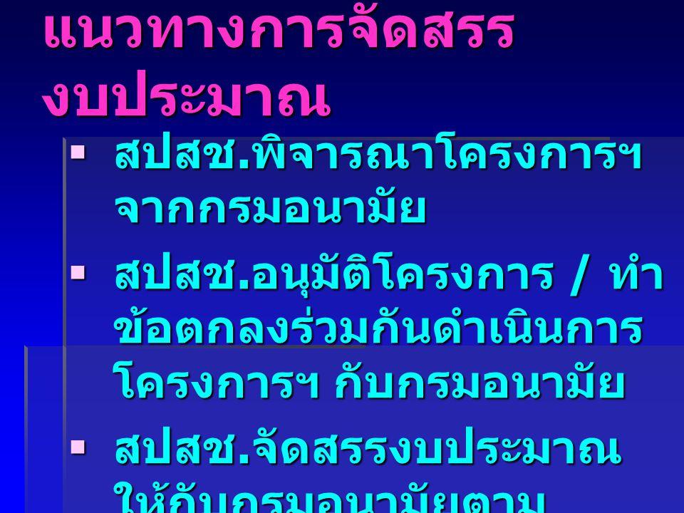 การจัดสรร งบประมาณ โครงการเด็กไทย เฉลียวฉลาด ประเทศชาติแข็งแรง ผู้จัดการโครงการ : กองโภชนาการ กรม อนามัย กระทรวงสาธารณสุข ร่วมกับ สำนักงานหลักประกันสุขภาพ แห่งชาติ ร่วมกับ สำนักงานหลักประกันสุขภาพ แห่งชาติ