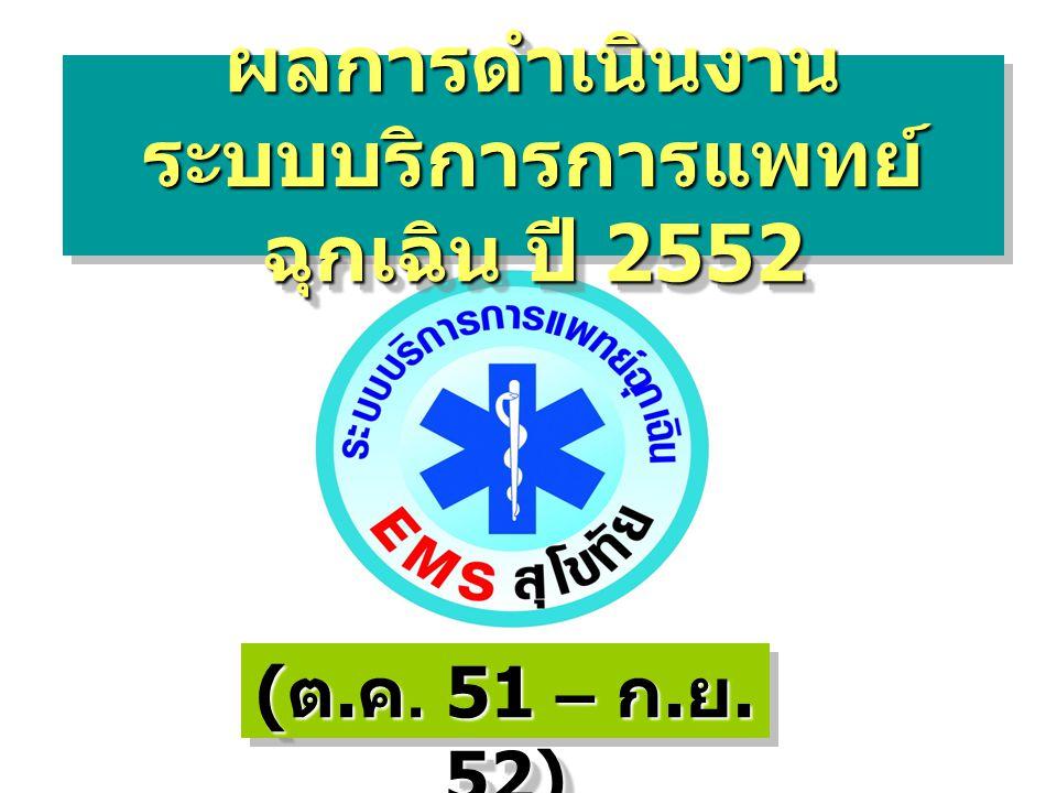 ( ต. ค. 51 – ก. ย. 52) ผลการดำเนินงาน ระบบบริการการแพทย์ ฉุกเฉิน ปี 2552