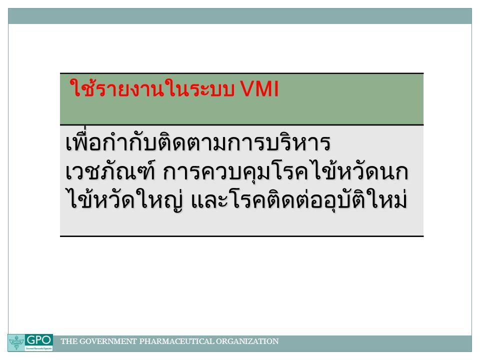 THE GOVERNMENT PHARMACEUTICAL ORGANIZATION ใช้รายงานในระบบ VMI เพื่อกำกับติดตามการบริหาร เวชภัณฑ์ การควบคุมโรคไข้หวัดนก ไข้หวัดใหญ่ และโรคติดต่ออุบัติใหม่