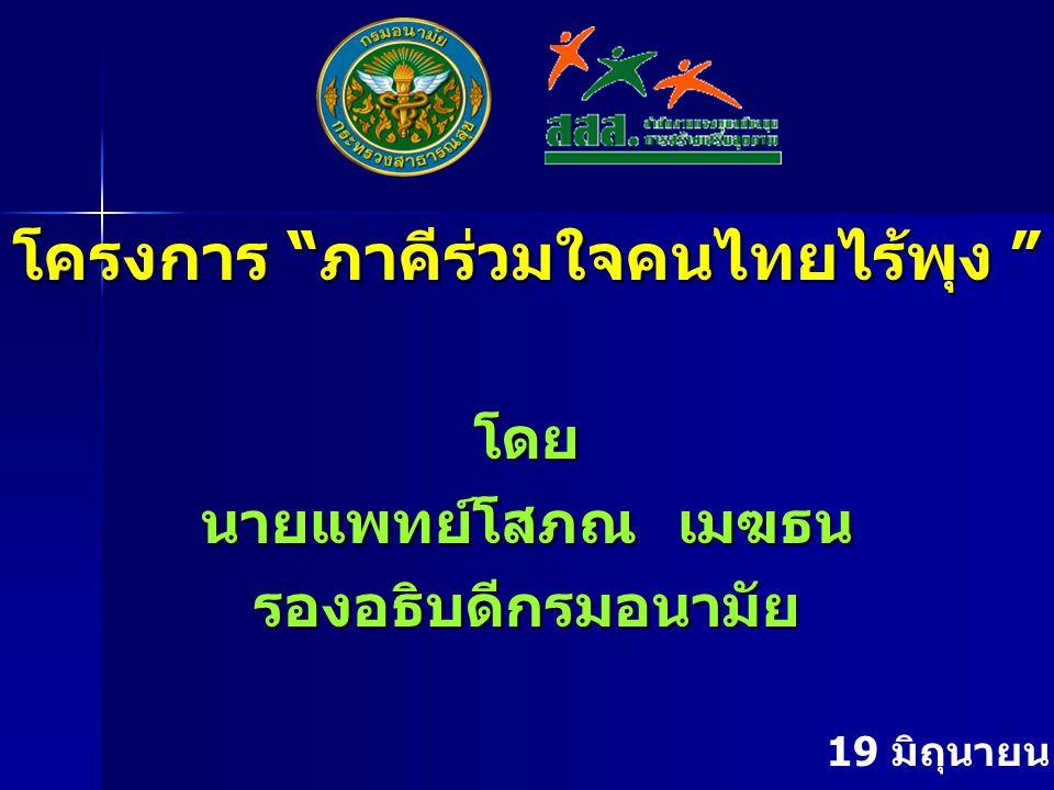 """โครงการ """"ภาคีร่วมใจคนไทยไร้พุง """" โดย นายแพทย์โสภณ เมฆธน รองอธิบดีกรมอนามัย 19 มิถุนายน 2551"""